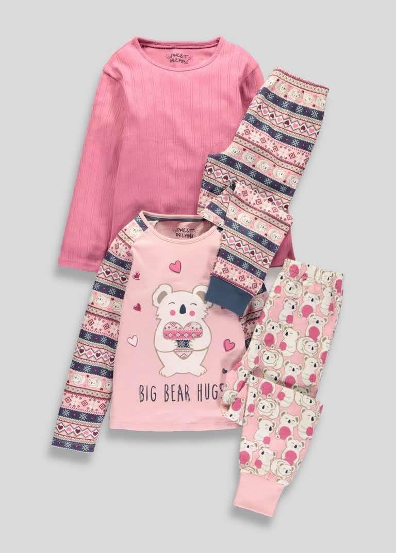 HBER 1-6T Toddler Baby Little Boys Girls Kids Pajamas Sets Long Sleeve T-Shirt Top Pants Sleepwear Outfits Set