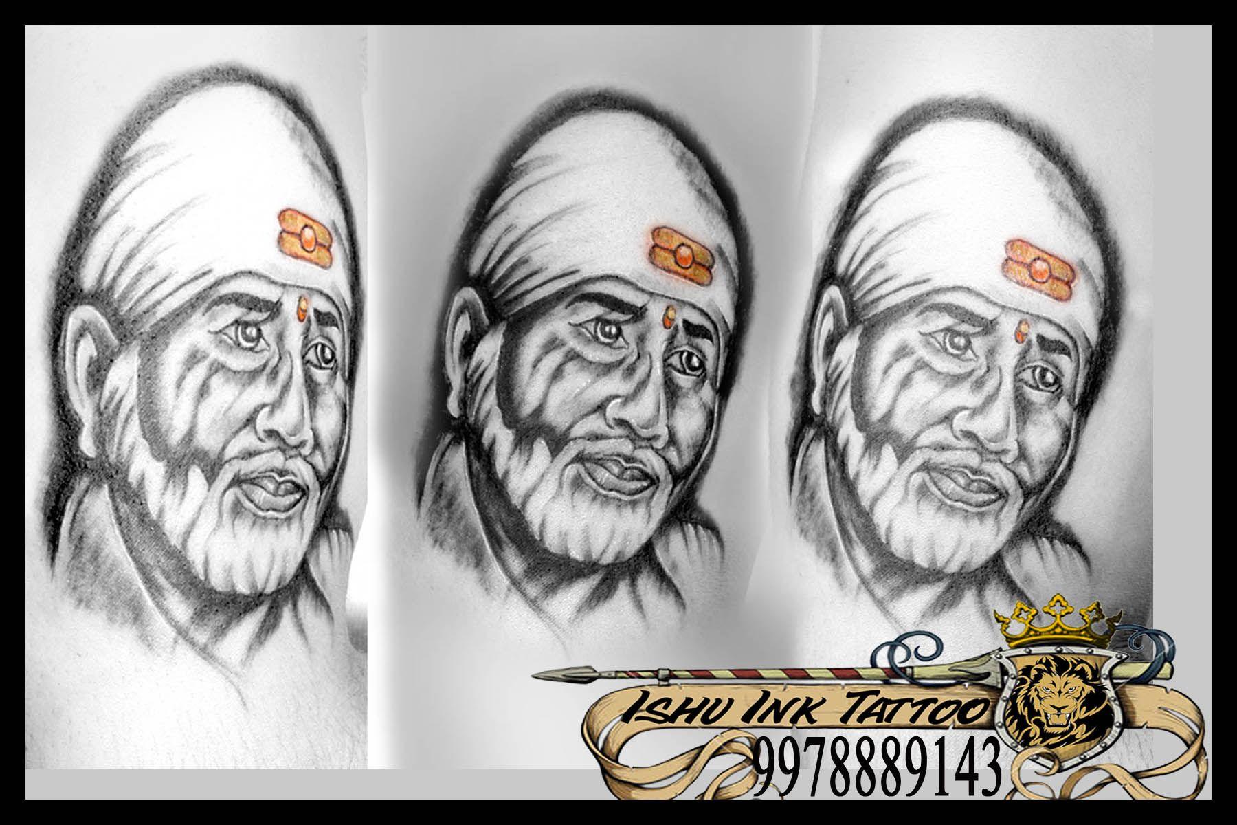 portrait in tattoo of sai baba (black & white ) Ink
