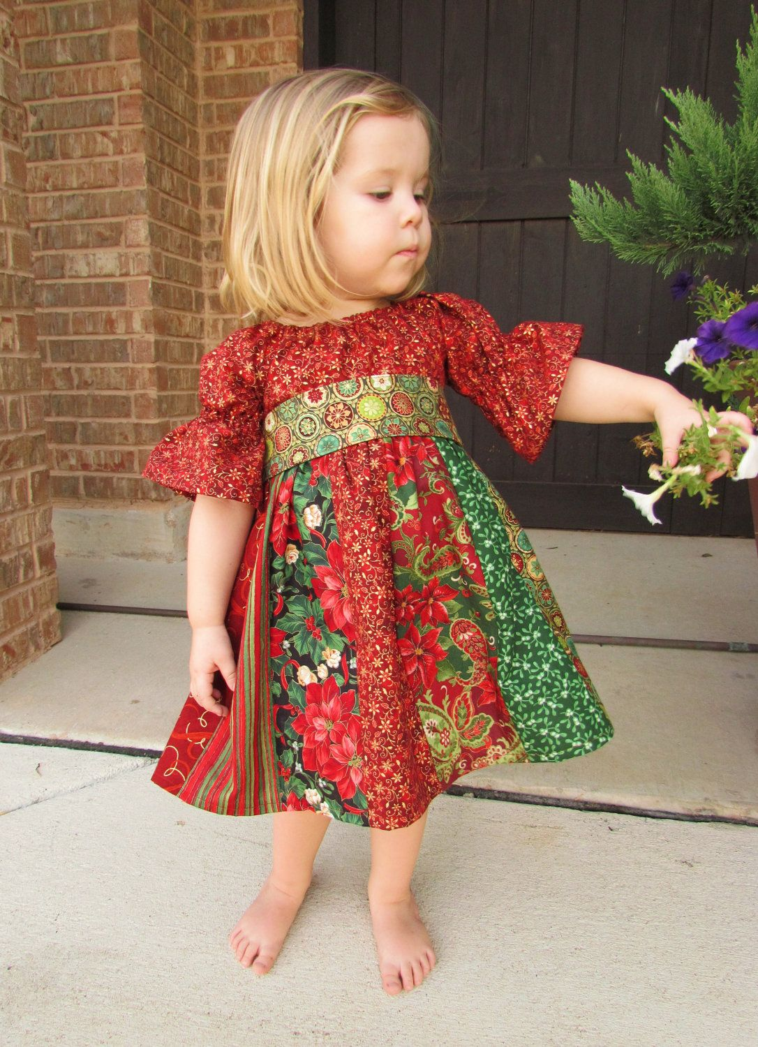 ec4198436 Child's stripwork peasant dress for Christmas. Girls Christmas dress in  sizes 12 month, 2t, 3t, 4t. $39.00, via Etsy.