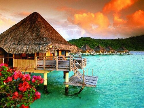 Stay in a water bungalow in Tahiti or Fiji