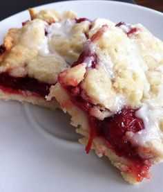 Cherry Pie Bars -- might be fun to try phyllo dough and a crumble topping- or perhaps shortbread-instead of a traditional  crust.