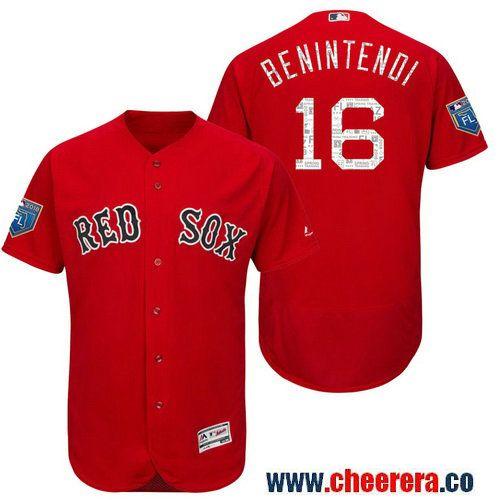 6c3ab7402ac Men s Boston Red Sox  16 Andrew Benintendi Scarlet 2018 Spring Training  Flex Base Jersey