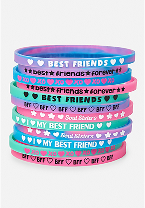 423711608619a 12 Pack Besties Silicone Bracelets | bracelet | Friend jewelry, Bff ...