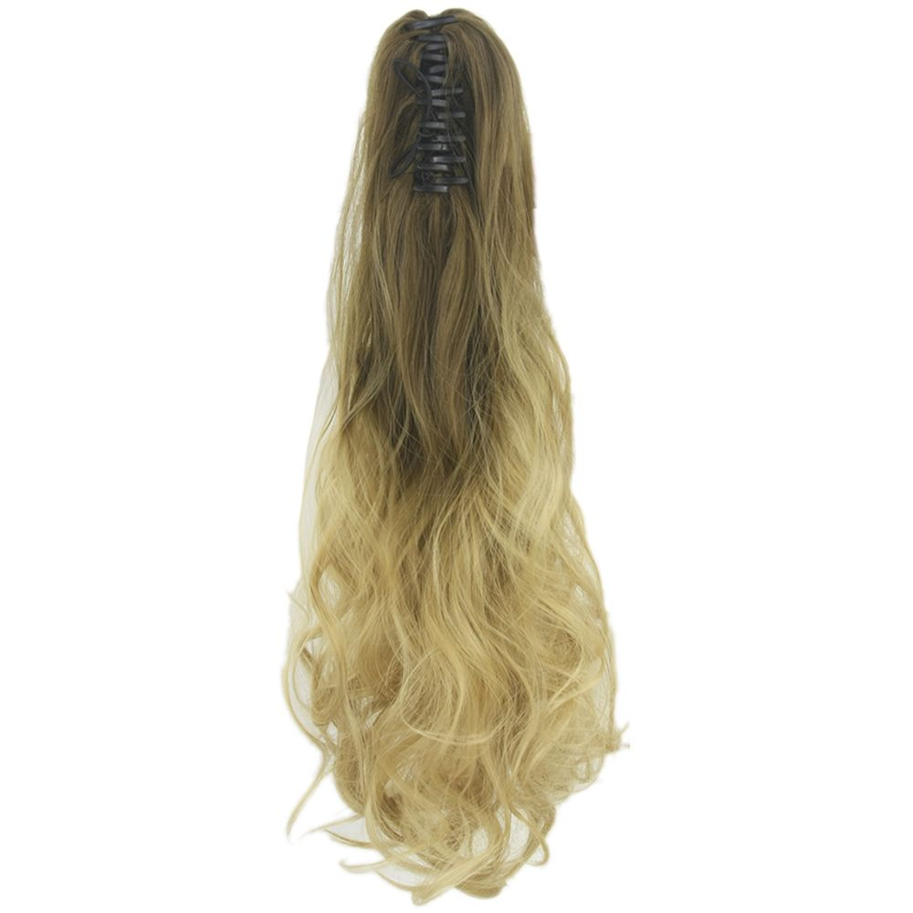 Soowee wavy brown grey ombre hair claw ponytail synthetic hair long