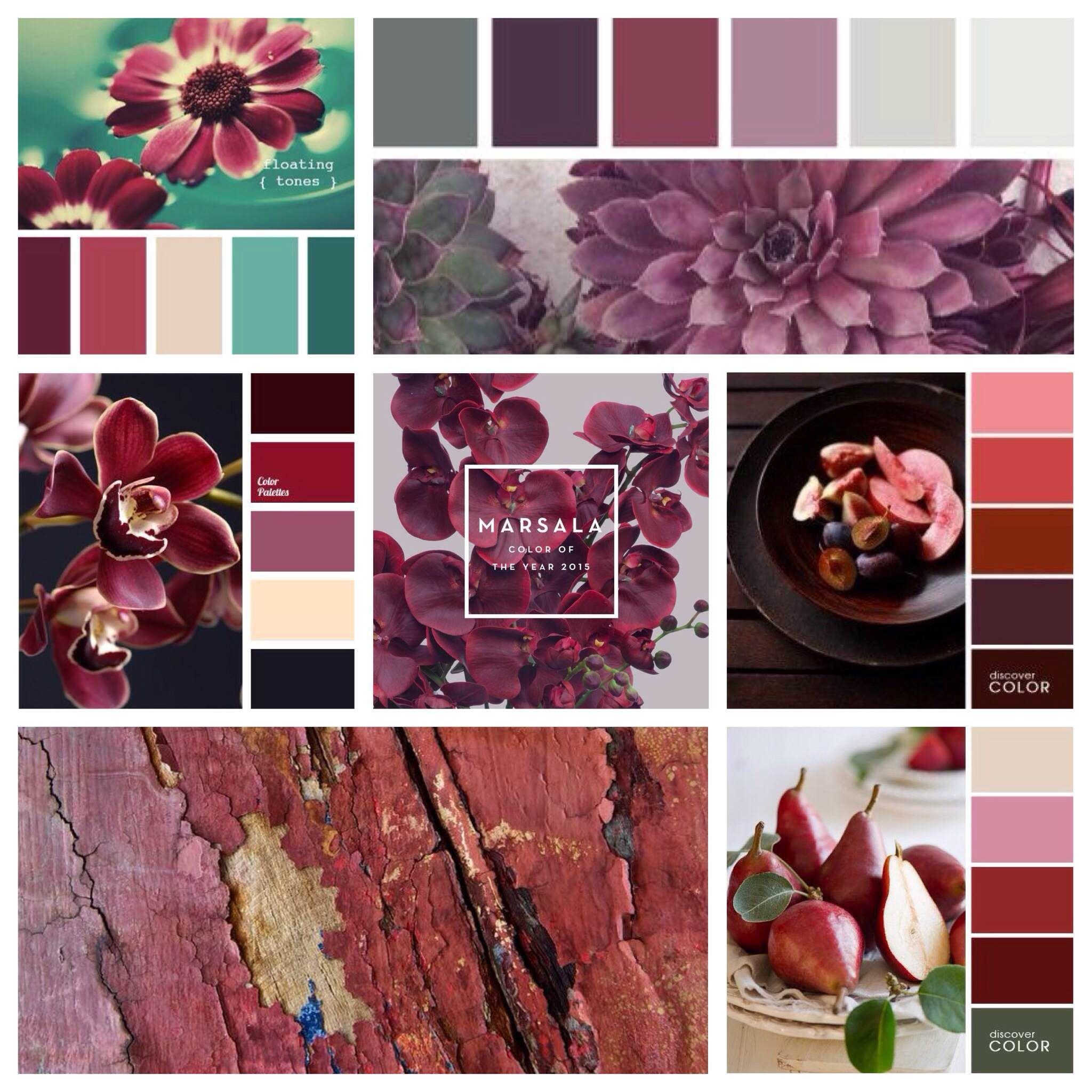 Сочетание цвета с другими оттенками | Марсала, Сочетание ...