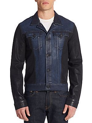 True Religion Danny Denim Moto Jacket - Blue - Size