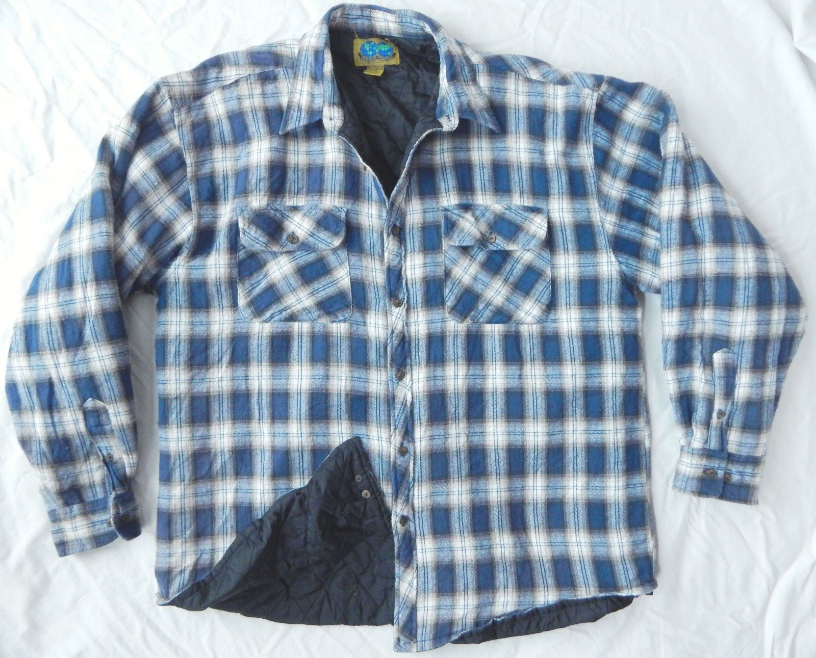 Blue White Plaid Quilted Insulated Flannel Work Shirt - XXL Mens Lined 2XL Warm