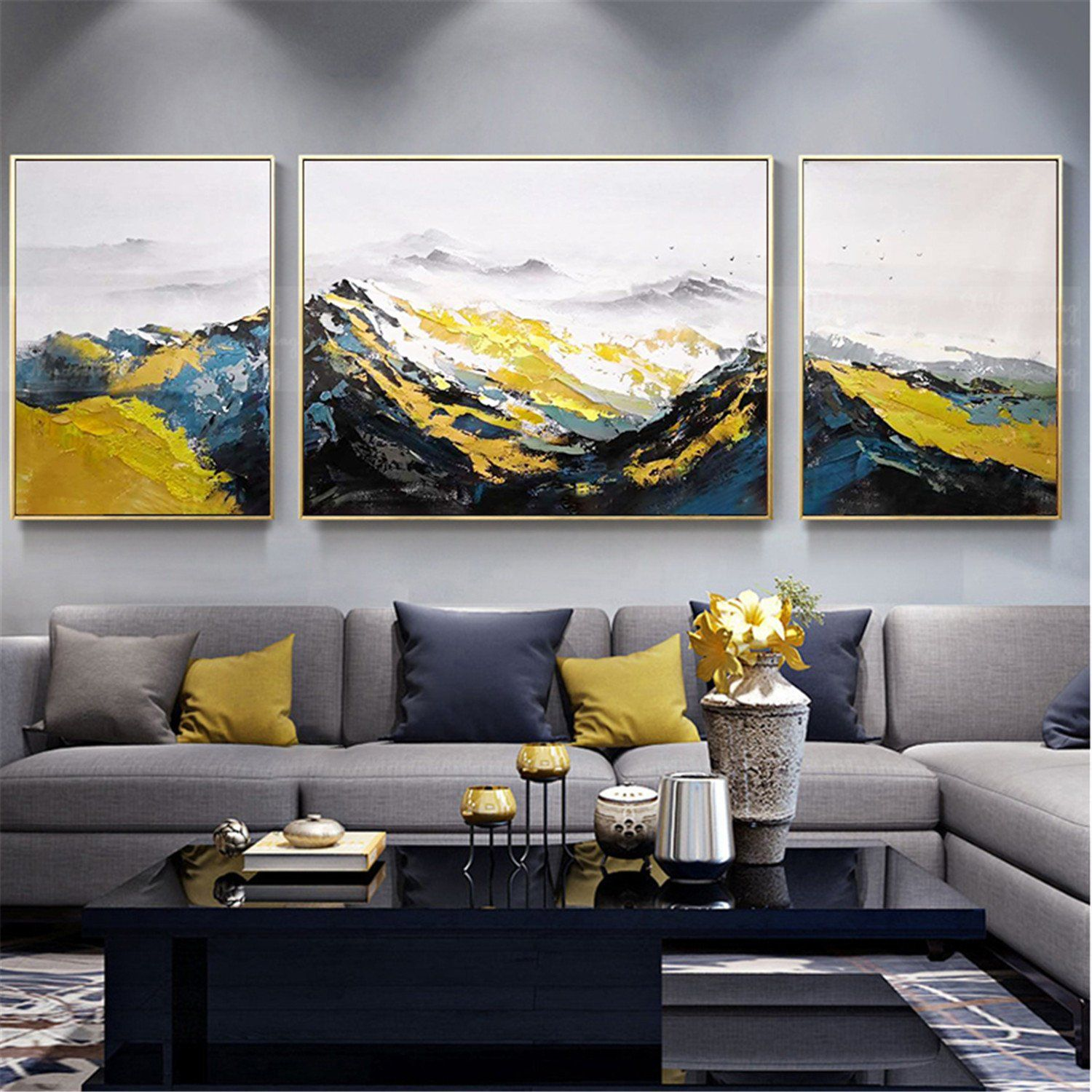 3 Pieces Abstract Painting Original Acrylic Canvas Wall Art Etsy In 2020 Living Room Canvas Living Room Art Bedroom Frames