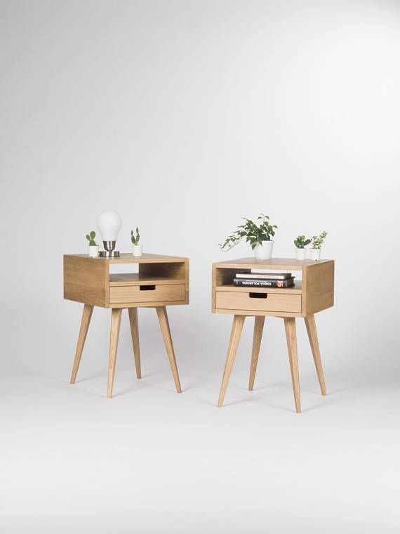 pair of mid century modern nightstand bedside table end table with rh pinterest com