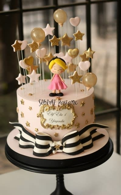 Amazing Baby Girl Stars And Balloons Cake By Sihirli Pastane Baby Personalised Birthday Cards Vishlily Jamesorg