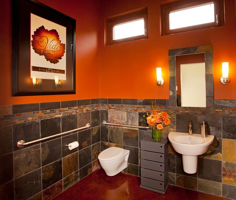 Bathroom Paint Ideas Orange With Images Orange Bathrooms Orange Bathroom Decor Bathroom Design