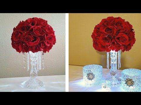 Dollar Tree Diy 2017 Glam Floral Rose Arrangement Wedding Home Decor Craft Youtube Dollar Tree Wedding Wedding Centerpieces Diy Cheap Wedding Centerpieces