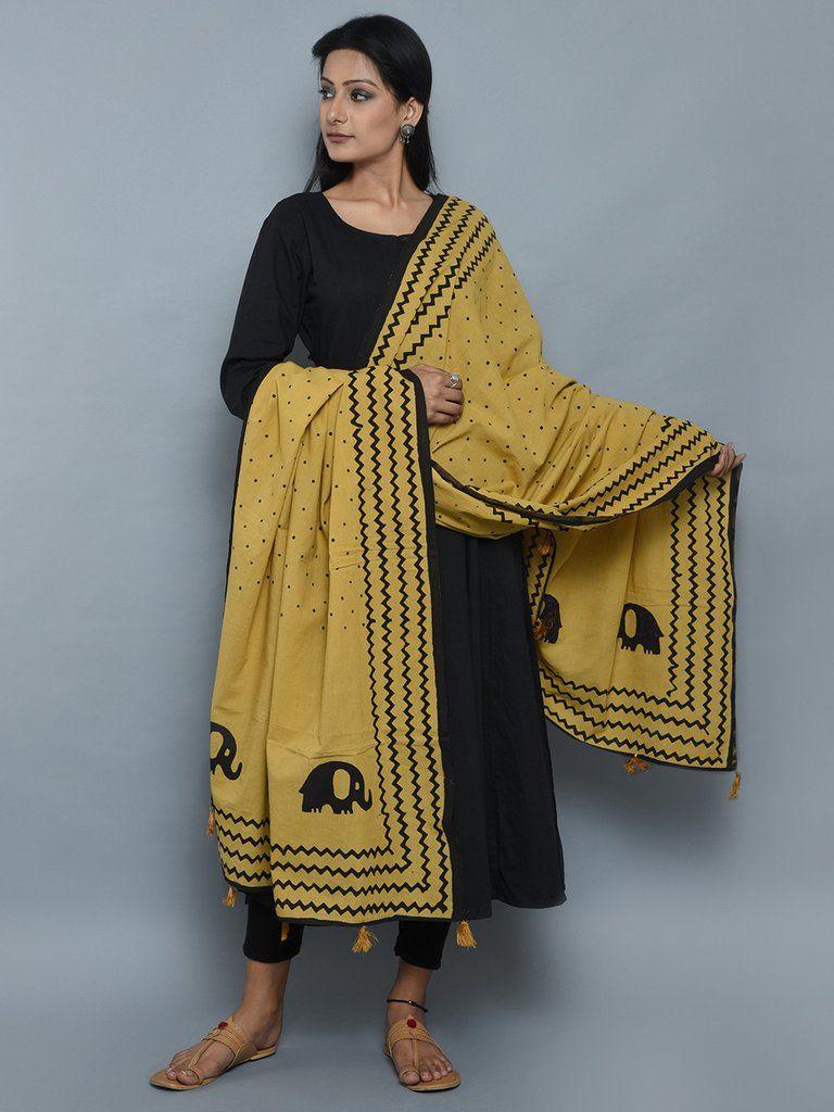 f5b2c56c00 Mustard Black Baby Elephant Block Print Cotton Dupatta | THE LOOM ...