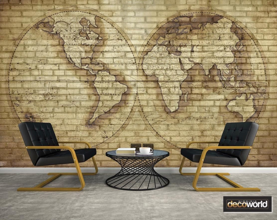 Classic world map vintage style over brick wall wallpaper perfect classic world map vintage style over brick wall wallpaper perfect for sophisticated decor gumiabroncs Gallery