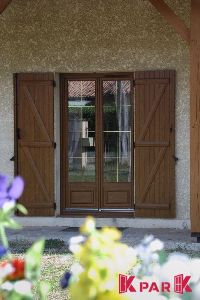 Porte Fenêtre Thermik En Pvc Finition Bois Avec Croisillons