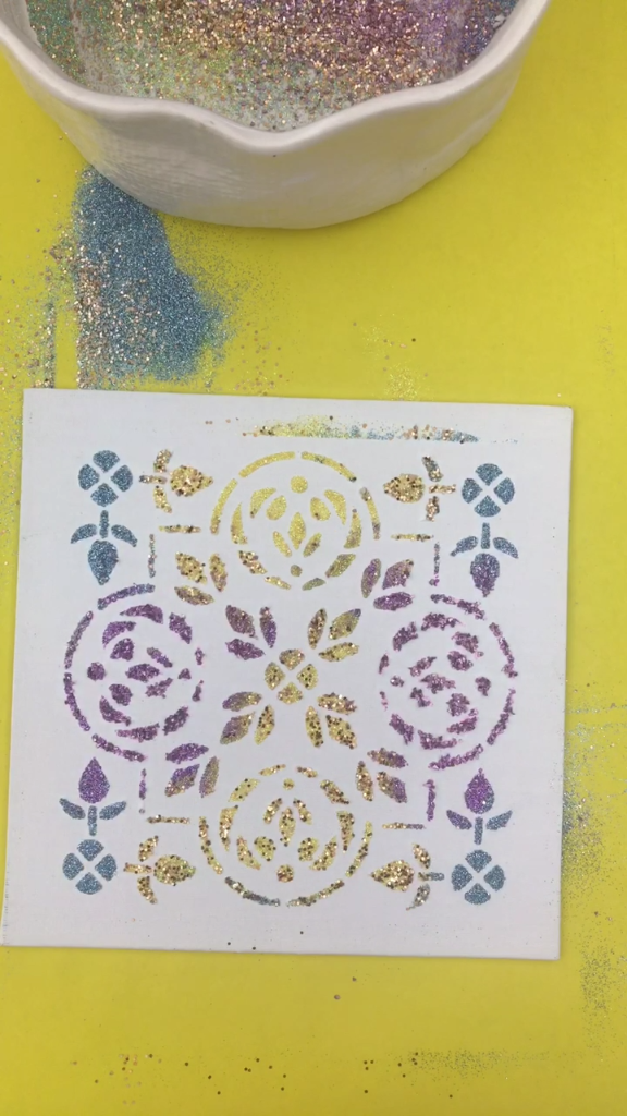How To Make Stenciled Glitter Art | Kids art activities | Pinterest ...