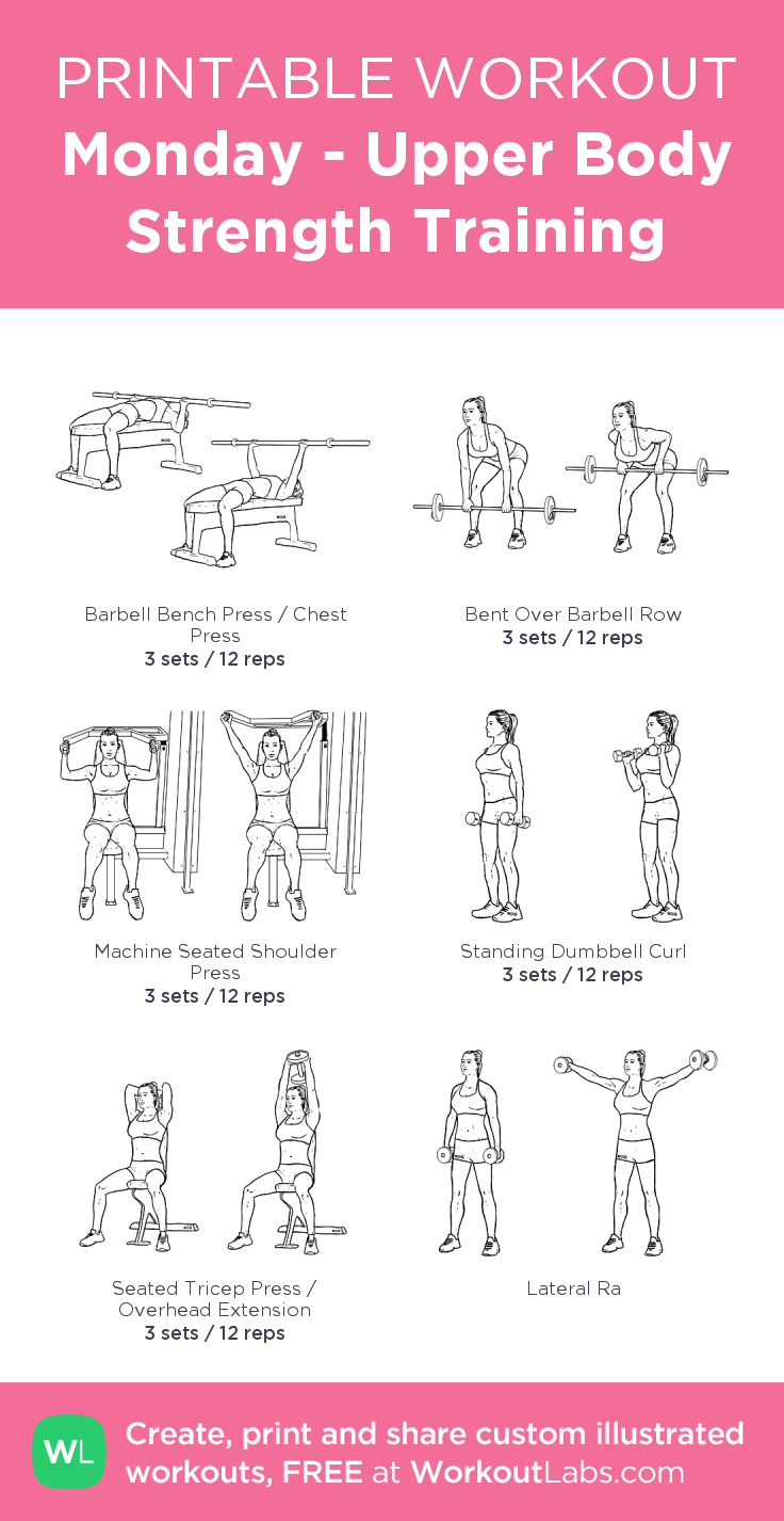 graphic regarding Iron Strength Workout Printable named Monday - Higher Human body Power Performing exercises: my visible exercise session