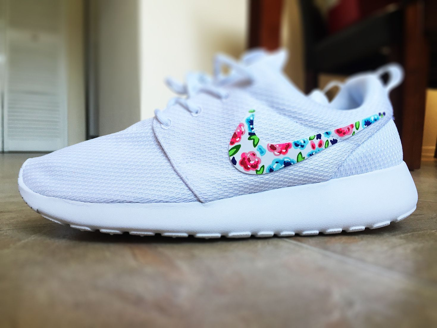promo code db94b 2fdf9 Womens Custom Nike Roshe Run Floral design, Custom Floral Nike, white with  pop of color, cute and trendy