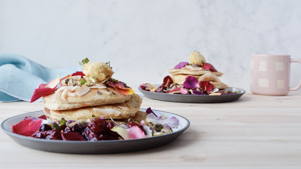 Formother's day the Gluten Free Table creates an elegant brunch menu of buttermilk hotcakes and zucchini and mint fritters