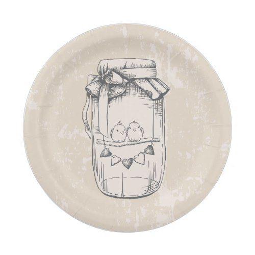 Rustic Mason Jar Hearts Tan Brown Wedding Paper Plate  sc 1 st  Pinterest & Rustic Mason Jar Hearts Tan Brown Wedding Paper Plate | Rustic mason ...