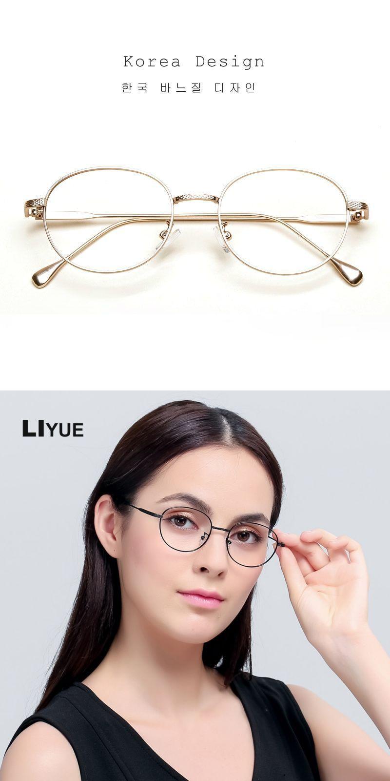 080b1679cbd4 Liyue vintage round metal glasses female spectacles frame men gold eyewear  frame glasses clear lens optical