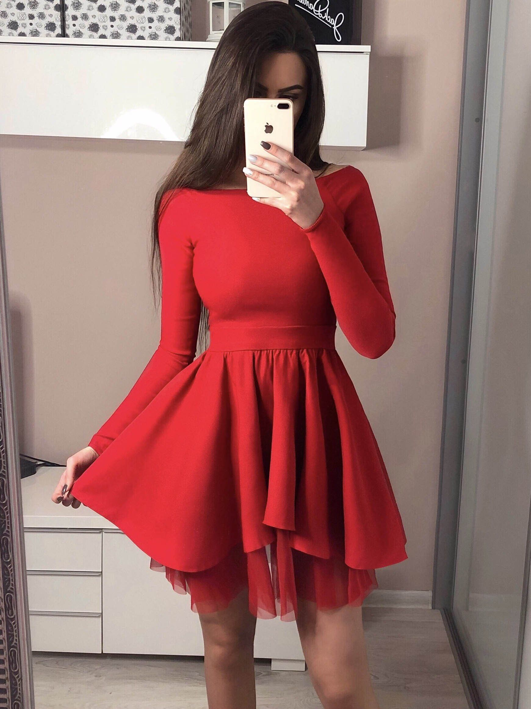 Long sleeve black homecoming dresses off the shoulder short red prom