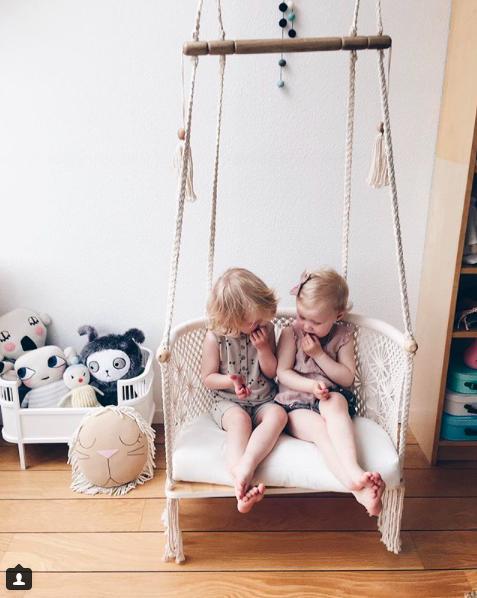 Macrame Hanging Chair Indoor With Two Kids Big Brick
