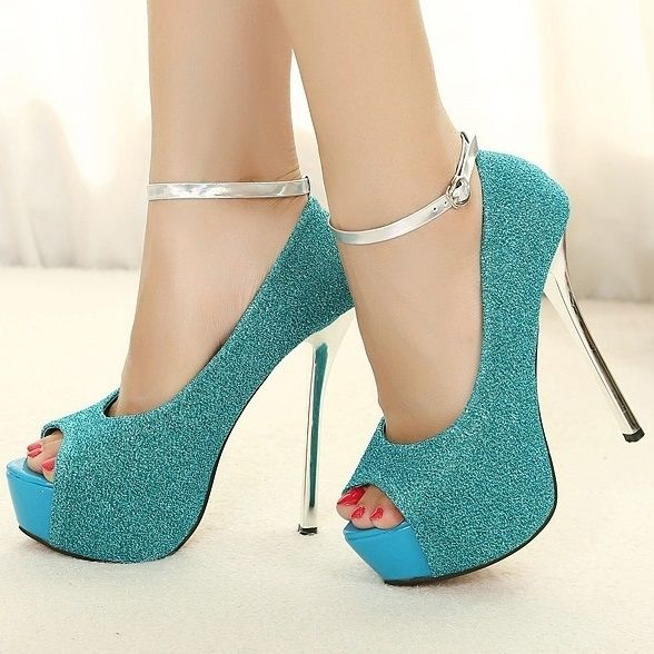 Sequin Studded Peep-Toe Ankle Strap Sandals