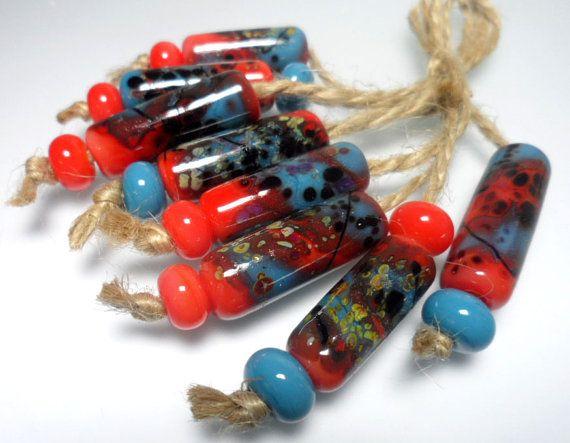 Lampwork.Glass bead handmade.Beads redturquoise by Glasskaramelka