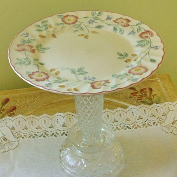 Glass Cake Stand, Wedding Cake Pedestal, Cupcake Stand, Vintage Cake ...