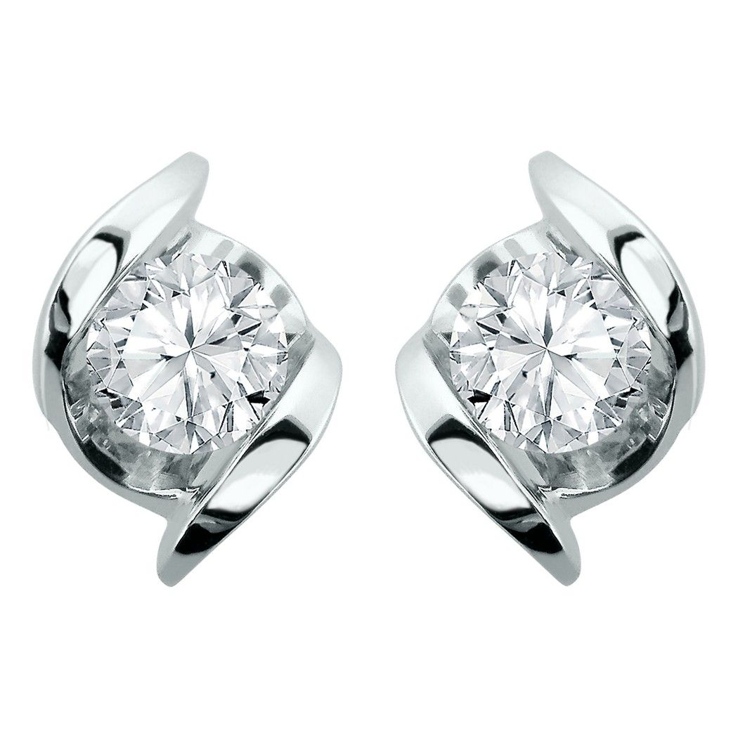 Sirena 14k White Gold 1 5 Carat Total Weight Diamond Solitaire Stud Earrings Sirena Diamond Earrings Studs White Diamond Stud Earrings Silver Earrings Studs