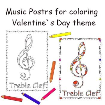 Music Symbol Posters For Coloring Valentines Day Pinterest