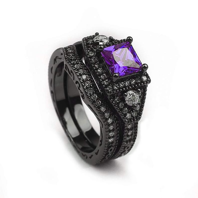 Danielle Purple CZ Black Plated Wedding Bridal Engagement