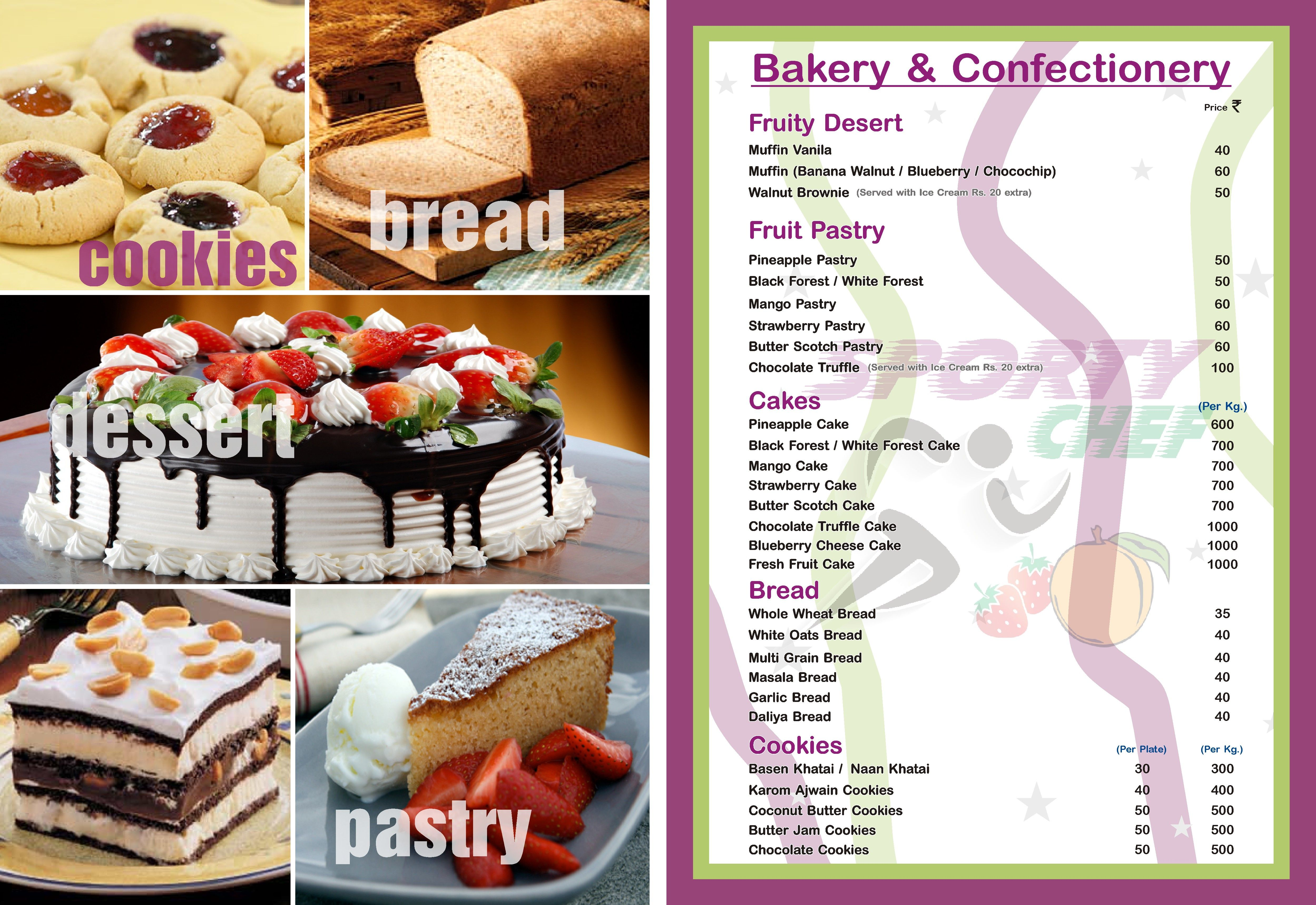 Bakery confectionery menu fruit pastries pineapple cake