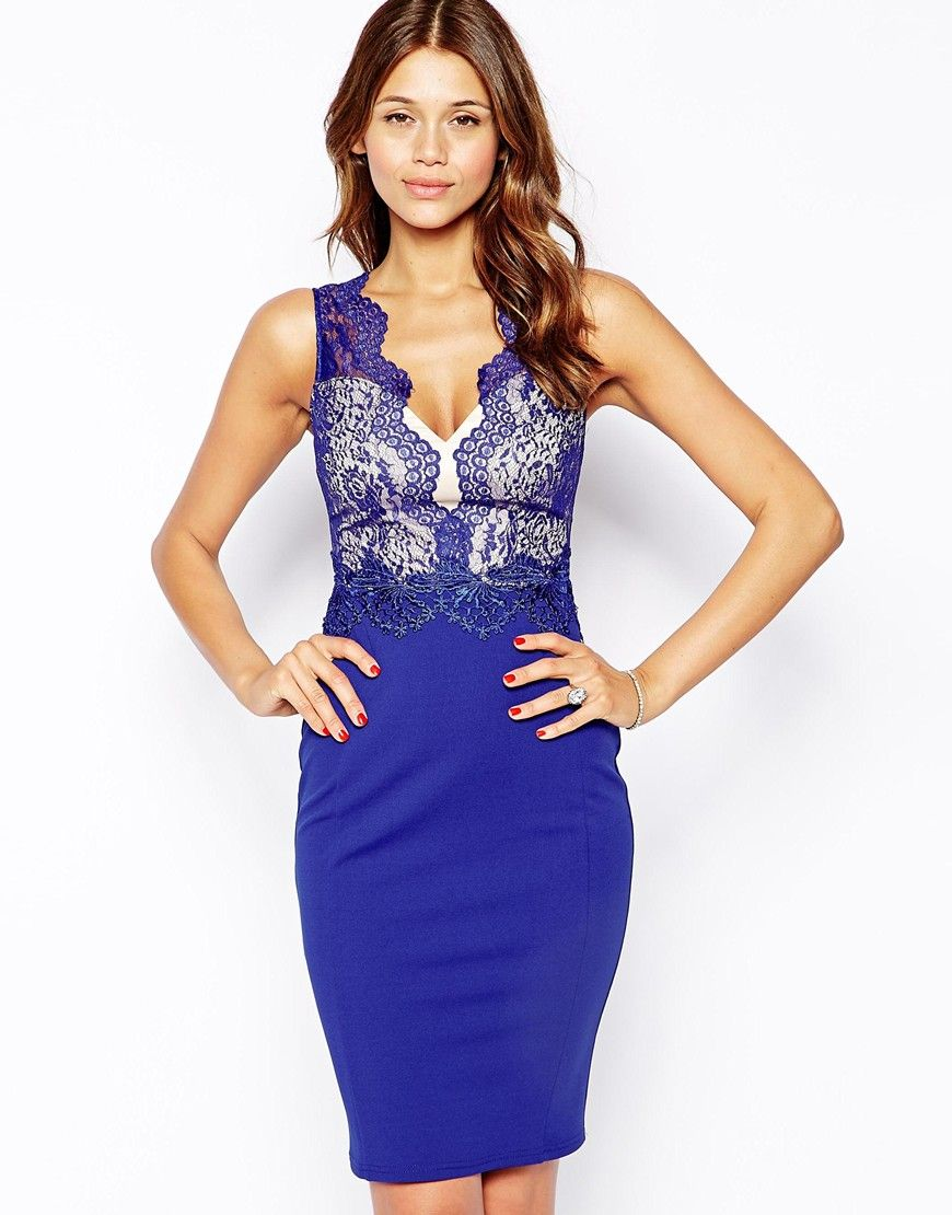 Michelle Keegan Loves Lipsy Bodycon Dress With Lace Mesh Detail ASOS ...