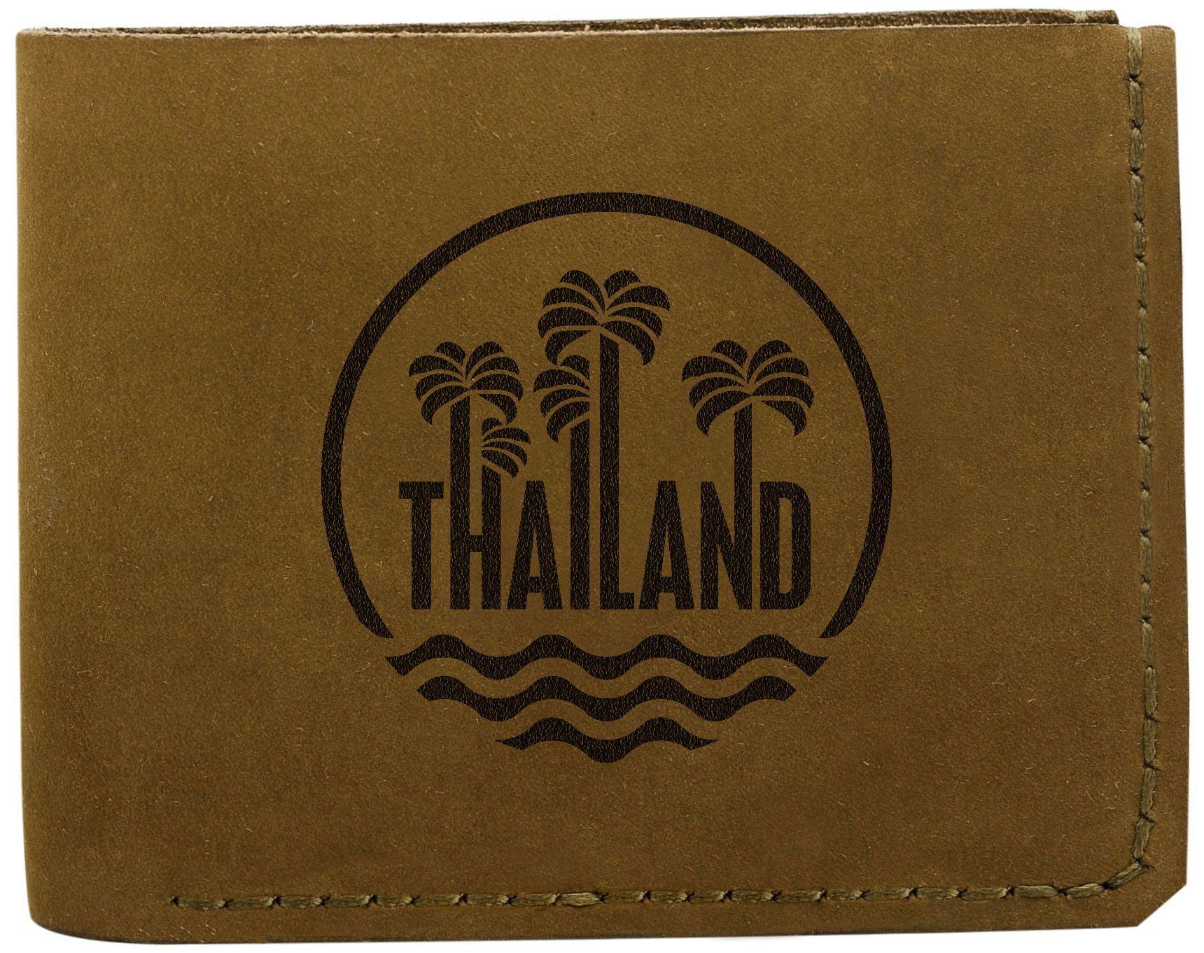 Vietsbay Men's Thailand Stamp Handmade Natural Genuine Pull-up Leather Wallet