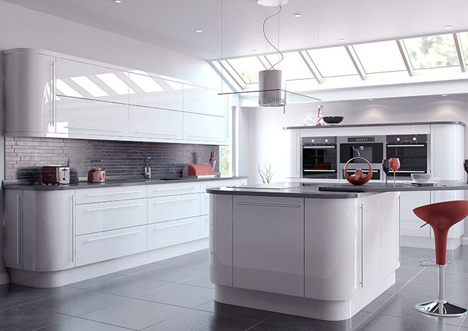 Setting A White Gloss Kitchen In Modern Style High Gloss White