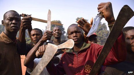 Christian vs Muslim violence in the Central African Republic. A man is congratulated for brutally killing a Muslim, parading him through the streets, and eating his leg. The man had witnessed Muslims kill his family, including a newborn, in front of him.