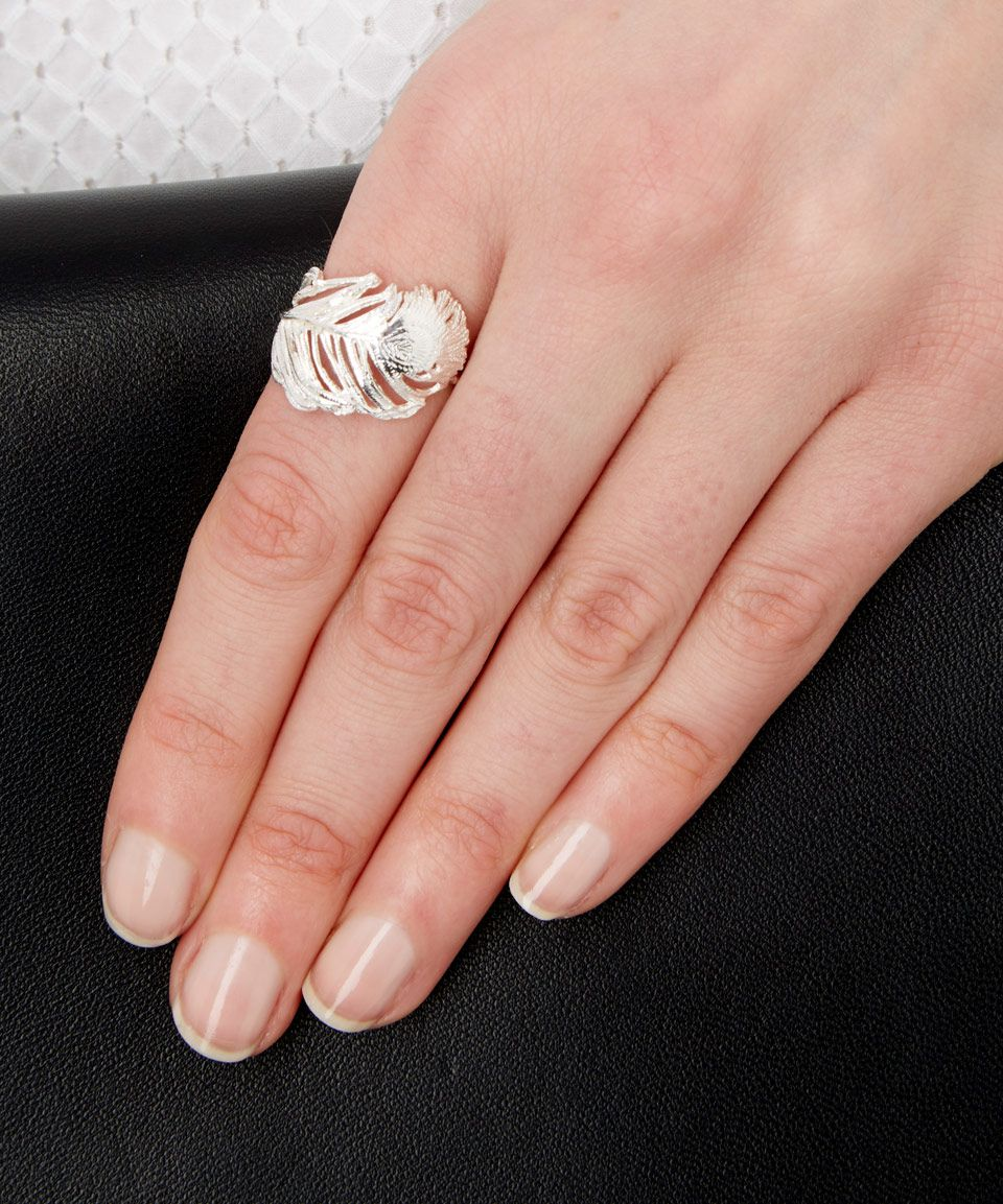 Alex Monroe Silver Big Curled Peacock Feather Ring