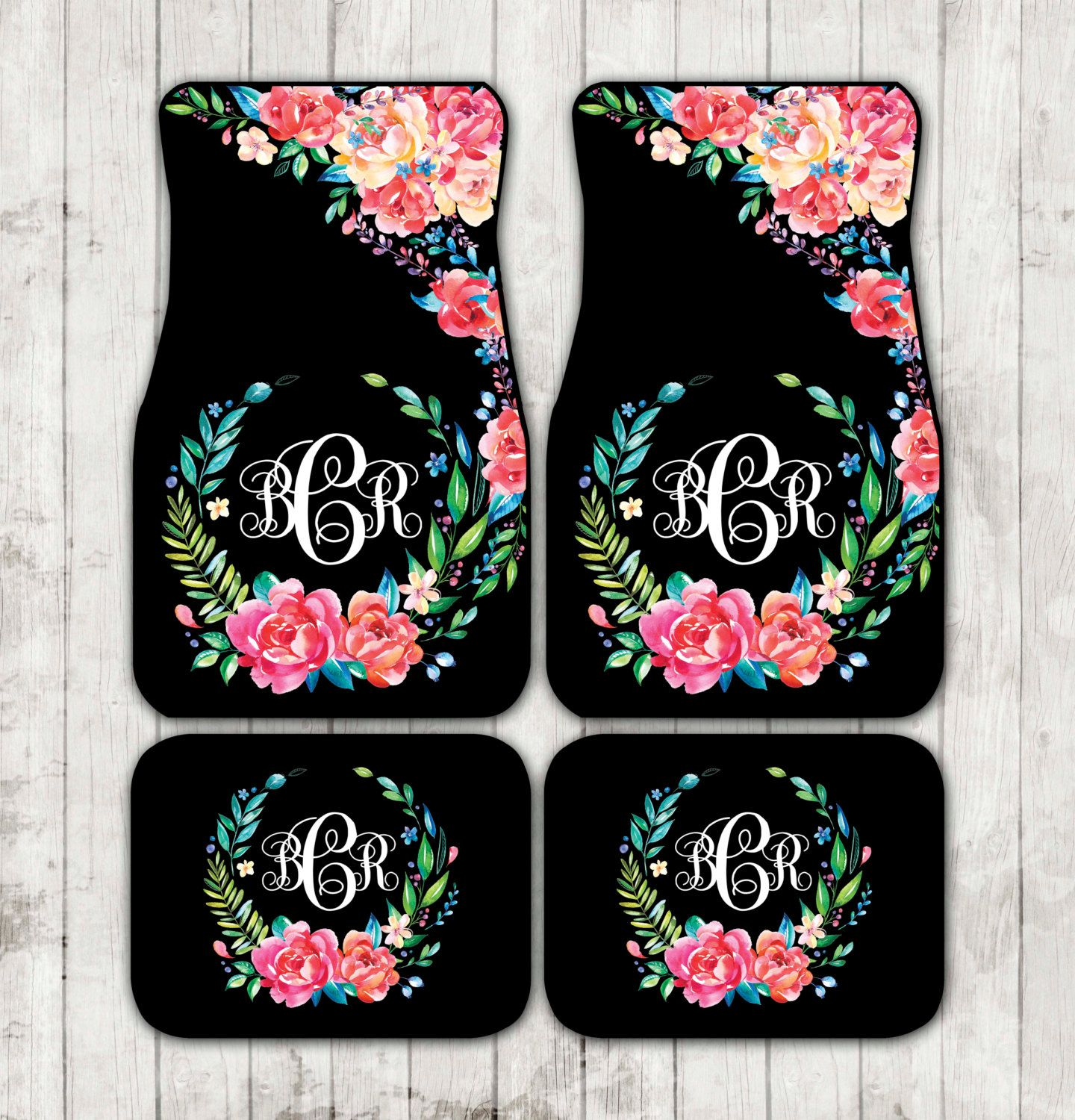 pin monogrammed carmats stripe car floral black monogram her striped accessories mats floor custom for