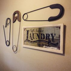 laundry room wall decor large safety pins and mirror | Laundry ...