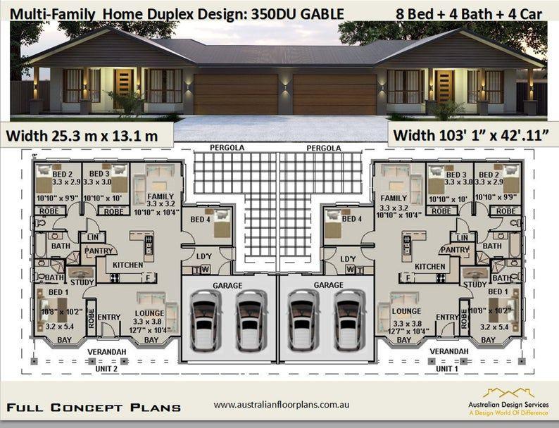 Multi Family Duplex House Plans 8 Bedroom Home Modern Duplex Multi Family Duplex Dual Duplex Design Concept House Plans For Sale In 2021 Duplex Design Duplex Plans House Plans For Sale
