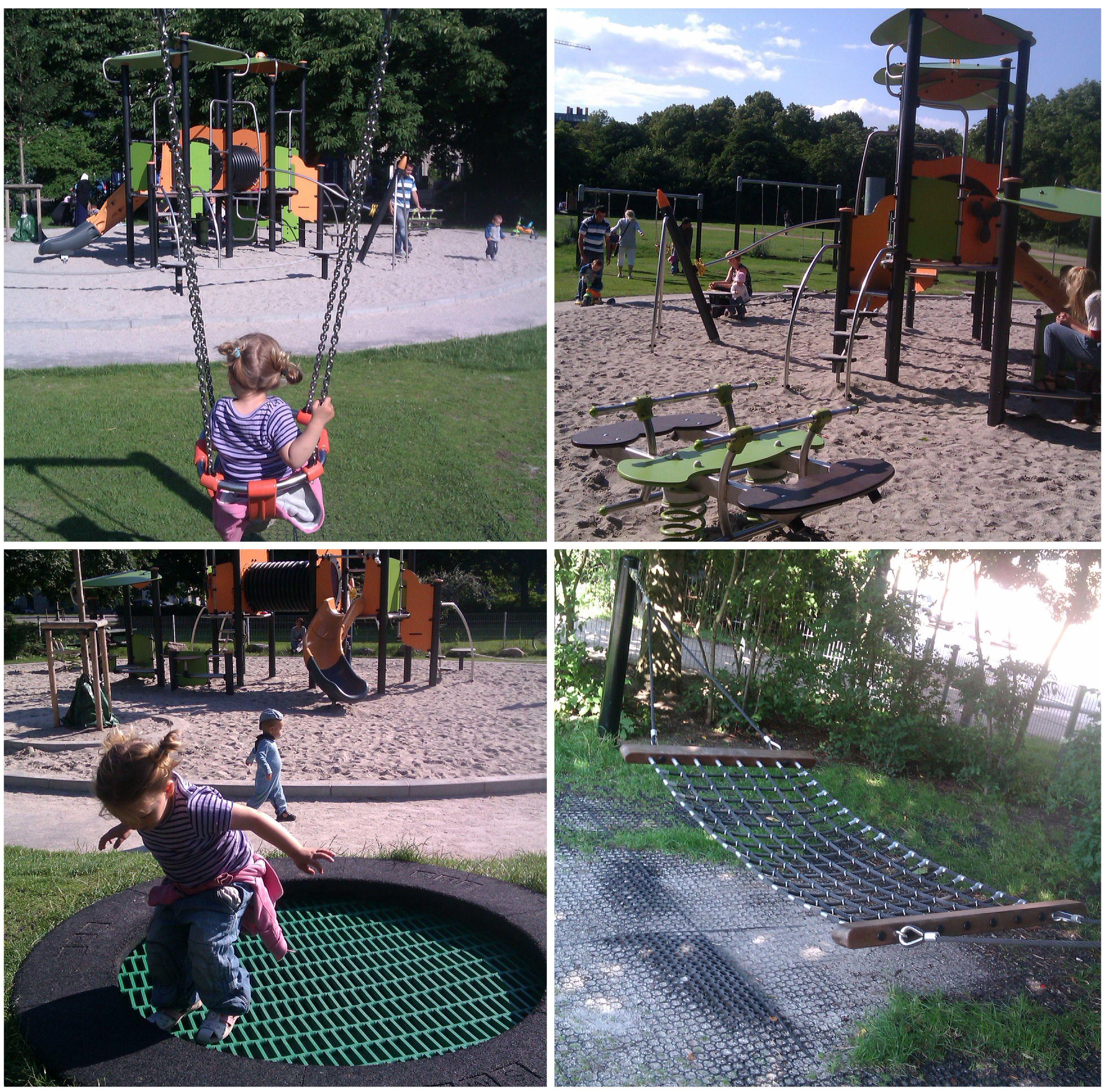 Fredens Park legeplads. Hop i trampolin, gå på line, das i hængekøje (der er plads til far, mor og barn), kravl i tårne, gyng, rutsj. Ligger tæt på Trafiklegepladsen/Fælledparken.