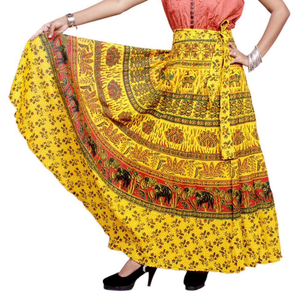 b47d80b02bb A Hippie Boho Gypsy Tribal Batik Cotton Wrap Around Skirt Dress  Handmade   FullSkirt