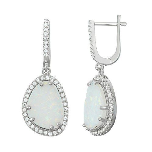 Sterling Silver Created White Opal  CZ Oval Dangle Earrings * You can get additional details at the affiliate link Amazon.com.