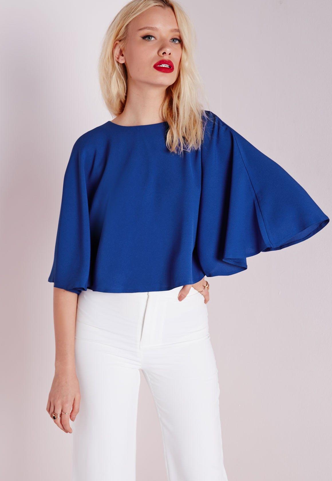 9f541a90a14ee7 Missguided - Cape Blouse Cobalt Blue   cape blouse ♡   Tops, Blouse ...