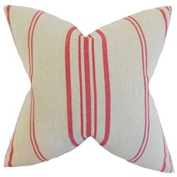 Throw this accent pillow to your room and bring a pop of color. This throw pillow features a stripe pattern in shades of red against a natural background. This toss pillow is made of 100% linen material. Crafted in the USA. Use this square pillow together with other decor pieces in your home. $55.00  #stripes  #pillows #tosspillow  #homedecor  #interiorstyling
