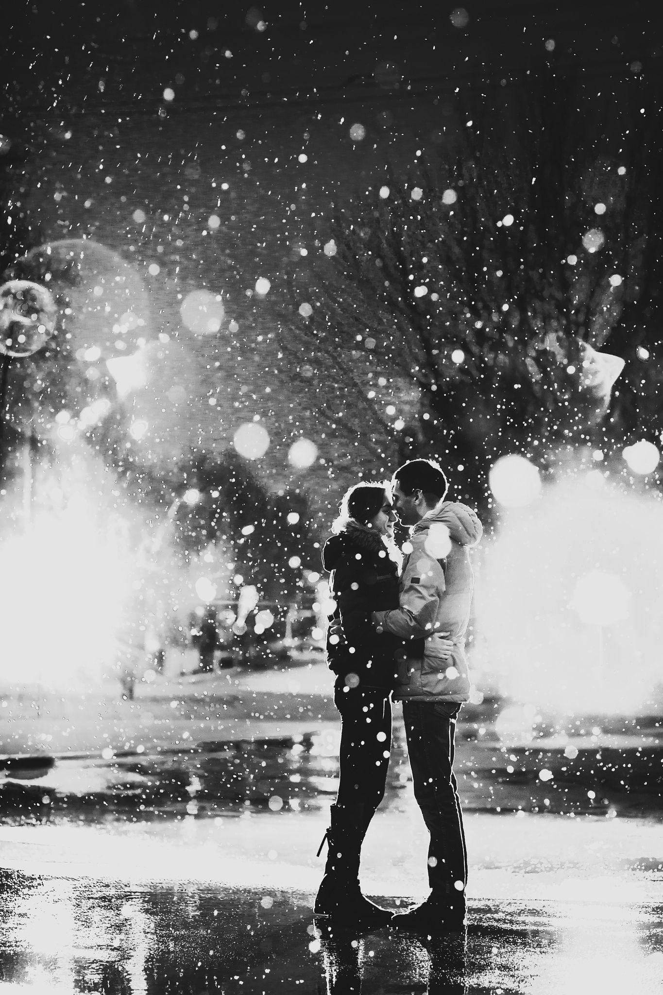 kiss, rain, snow, cold, street, date, two, attractive