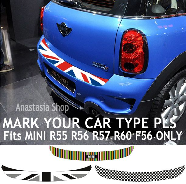 union jack checkered car tail rear trunk sticker for mini cooper coupe clubman r55 countryman. Black Bedroom Furniture Sets. Home Design Ideas