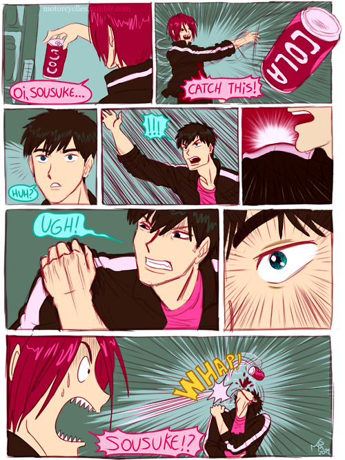 Based on episode 10 when Rin finds out about Sousuke's bad shoulder ...  From motorcyclles ...  Free! - Iwatobi Swim Club, free!, iwatobi, sosuke, sosuke yamazaki, yamazaki, sosouke, sosouke yamazaki, rin, rin matsuoka, matsuoka